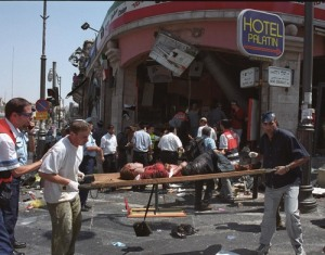 The roughly 300 plaintiffs in the Arab Bank case were either injured themselves or have family members who were killed in 24 different Hamas terror attacks during the Second Intifada, including the pictured suicide bombing at the Sbarro pizzeria in Jerusalem on August 9, 2001.