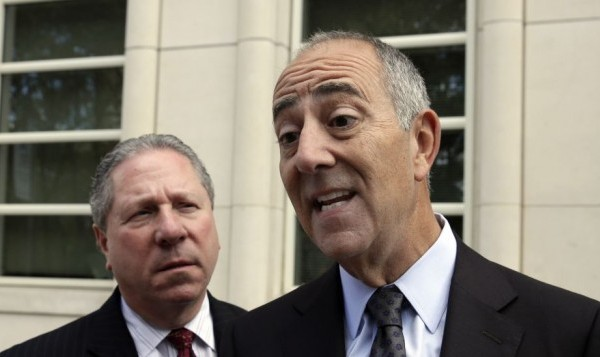 Mark Werbner, right, an attorney for the plaintiffs in a case against Jordan-based Arab Bank, talks with reporters outside the federal court in the Brooklyn borough of New York, Thursday, August 14, 2014. (photo credit: AP/Richard Drew)